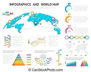 mapa del mundo, con, conjunto, de, infographics, elements., grande, conjunto, de, infographics, con, datos, iconos, mapa del mundo, gráficos, y, diseñe elementos, para, presentaciones del negocio, y, informes, vector, ilustración