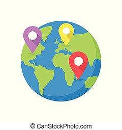 mapa del mundo, con, destino, pins.