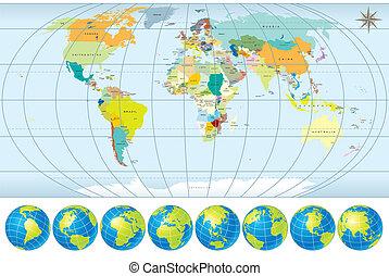mapa del mundo, con, globos
