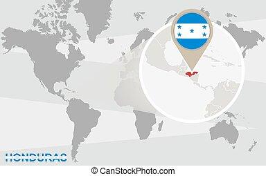 mapa del mundo, con, magnificado, honduras