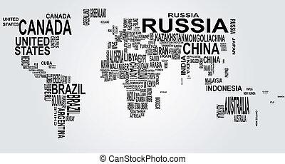 mapa del mundo, con, país, nombre