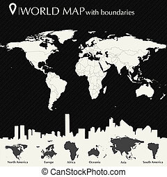 mapa del mundo, con, países