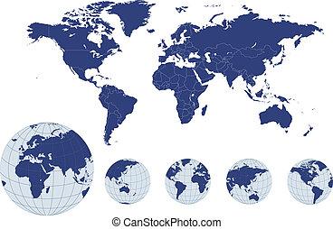 mapa del mundo, con, tierra, globos