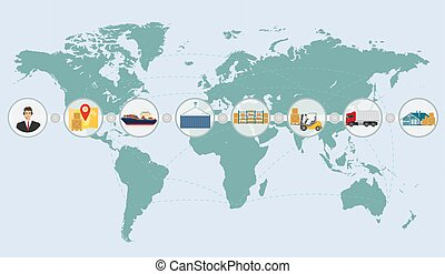 mapa del mundo, concepto, de, carga, logística, entrega, envío, servicio, infographics.