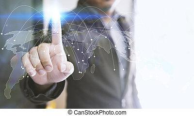 mapa del mundo, conectado, social, red, globalización, empresa / negocio, social, medios, establecimiento de una red, concept.