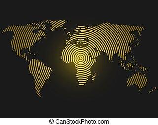 mapa del mundo, de, amarillo, círculos concéntricos, en, oscuridad, gris, fondo.