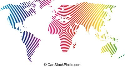 mapa del mundo, de, arco irirs, spectre, círculos concéntricos, blanco, fondo., mundial, comunicación, ondas de radio, concepto, moderno, diseño, vector, papel pintado