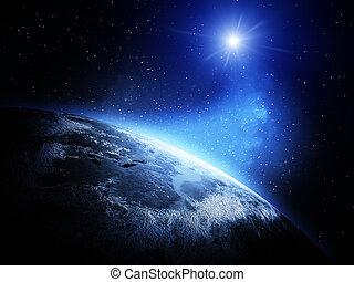 mapa del mundo, de, espacio