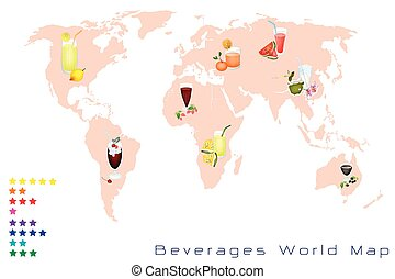 mapa del mundo, de, fruits, bebida, y, dulce, bebida