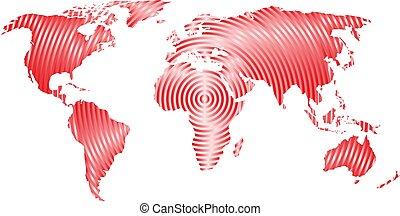 mapa del mundo, de, gris, círculos concéntricos, blanco, fondo., mundial, comunicación, ondas de radio, concepto, moderno, diseño, vector, papel pintado