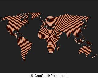mapa del mundo, de, naranja, círculos concéntricos, en, oscuridad, gris, fondo., mundial, comunicación, ondas de radio, concepto, moderno, diseño, vector, papel pintado