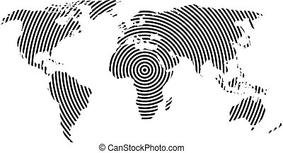 mapa del mundo, de, negro, círculos concéntricos, blanco, fondo., mundial, comunicación, ondas de radio, concepto, moderno, diseño, vector, papel pintado