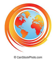 mapa del mundo, de, recalentar, climático