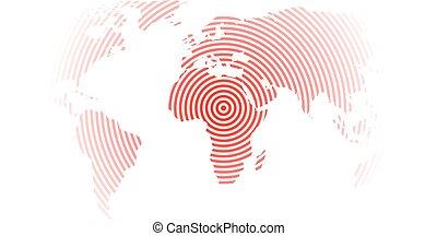 mapa del mundo, de, rojo, círculos concéntricos, blanco, fondo., terremoto, epicentro, theme., moderno, diseño, vector, papel pintado