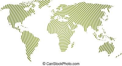 mapa del mundo, de, verde, círculos concéntricos, blanco, fondo., mundial, comunicación, ondas de radio, concepto, moderno, diseño, vector, papel pintado