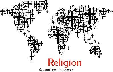 mapa del mundo, diseño, de, crucifijo, cruz, patrón
