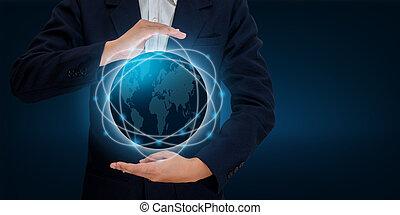 mapa del mundo, en, el, manos, de, un, hombre de negocios, red, tecnología y comunicación, espacio, entrada, datos
