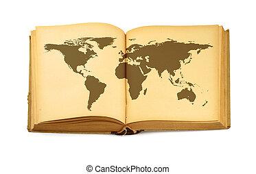mapa del mundo, en, libro abierto