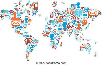mapa del mundo, forma, hecho, con, social, medios, iconos
