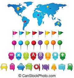 mapa del mundo, gps, iconos