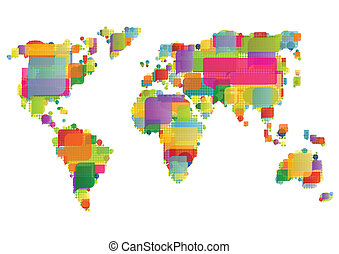 mapa del mundo, hecho, de, colorido, discurso, burbujas, concepto, ilustración, plano de fondo, vector