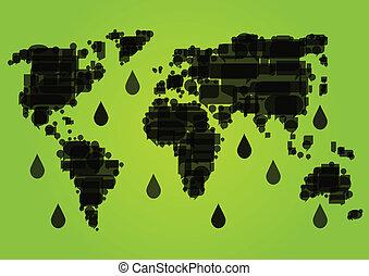 mapa del mundo, hecho, de, negro, goteo, campos petroleros, ecología, ambiental, concepto, plano de fondo, ilustración, vector