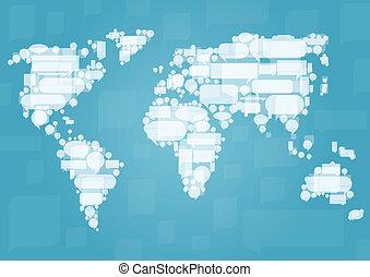 mapa del mundo, hecho, de, nube blanca, discurso, burbujas, en, concepto, ilustración, plano de fondo, vector, para, cartel