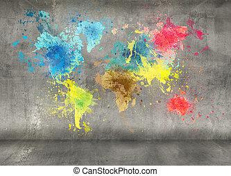 mapa del mundo, hecho, de, pintura, salpicaduras, en, pared...