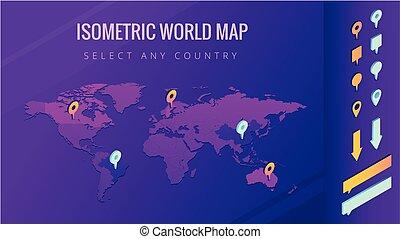 mapa del mundo, isométrico, vector, ilustración