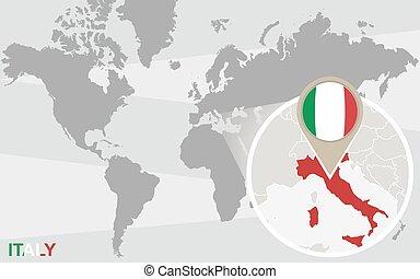 mapa del mundo, italia, magnificado