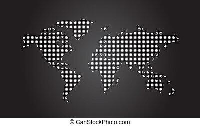 mapa del mundo, punteado