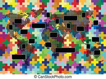 mapa del mundo, tejido, mosaico, con, colorido, discurso, burbujas
