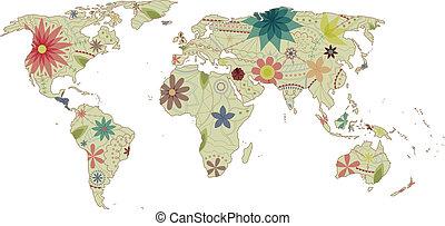 mapa del mundo, vendimia, 2