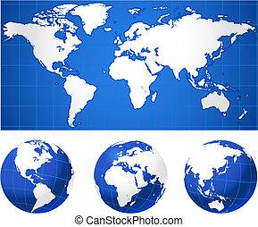 mapa del mundo, y, globos