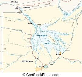 mapa, delta de okavango