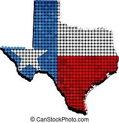 mapa, dentro, grunge, bandeira, texas