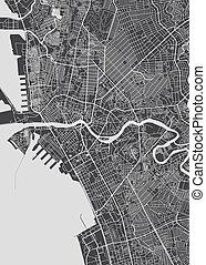 mapa, detallado, ilustración, ciudad, manila, vector, monocromo, plan