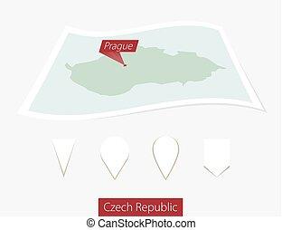mapa, diferente, alfinete, cinzento, tcheco, praga, quatro, experiência., papel, república, capital, curvado, set.