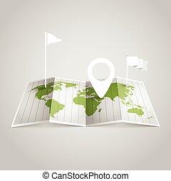 mapa, diferente, elementos, desenho, mundo, marks.