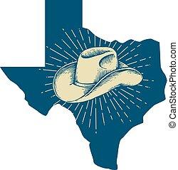 mapa, diseño, sombrero, tejas, vaquero