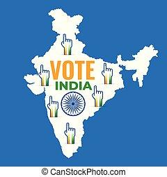 mapa, diseño, votación, india, mano