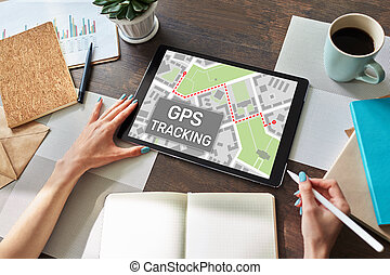mapa, dispositivo, sistema, posicionar global, screen., rastrear, gps