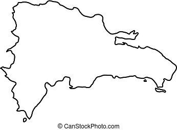 Mapa De Republica Dominicana En Blanco.Mapa Area Contorno Plano Solido Pais Ilustracion