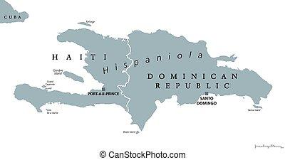 mapa, dominicano, político, hispaniola, república, haití