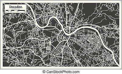 mapa, dresden, contorno, ciudad, map., alemania, retro,...