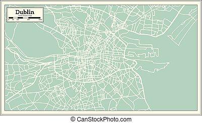 mapa, dublín, retro, irlanda, style.