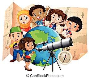 mapa, dzieci, teleskop, świat