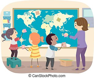 mapa, dzieciaki, stickman, ilustracja, świat, nauczyciel