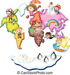 mapa, dzieciaki, zwierzęta, świat