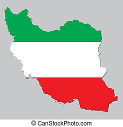 mapa, e, bandeira, de, irã